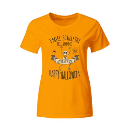 T-shirt donna Halloween Scheletri nell'armadio