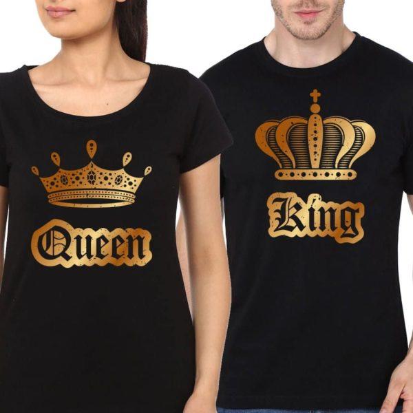 magliette Queen & King corona oro