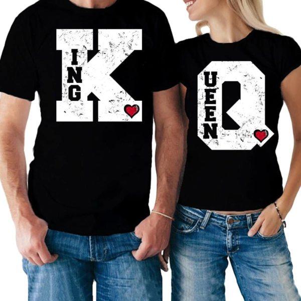Coppia di magliette King & Queen my heart