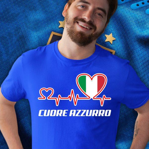 T-Shirt Uomo Calcio - Cuore Azzurro